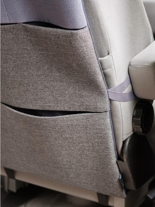 Rücksitzorganizer für Wohnmobil mit Schlaufen zur seitlichen Befestigung an Armlehnen